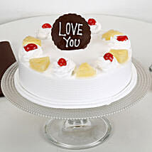 Love You Valentine Pineapple Cake: Cake Delivery in Jamnagar