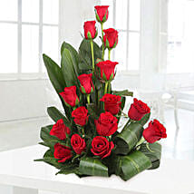 Lovely Red Roses Basket Arrangement: Romantic Flowers for Boyfriend