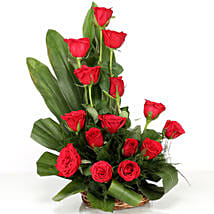 Lovely Red Roses Basket Arrangement: Roses