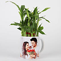 Lucky Bamboo in Personalised White Mug: Love N Romance Plants