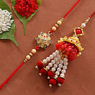 Lumba & Colorful Flower Shape Rakhi Combo: Rakhi Express Delivery