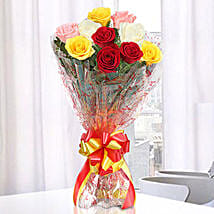 Magical Multicolored Roses Bouquet: Send Flowers for Parents Day