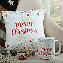 Merry Xmas Cushion N Mug Combo: Send Christmas Gifts For Girlfriend