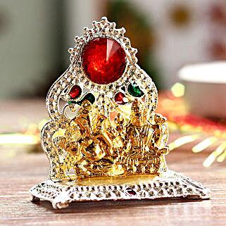Mini Lakshmi Ganesha Idol On One Singhasan: Laxmi Ganesh Gifts