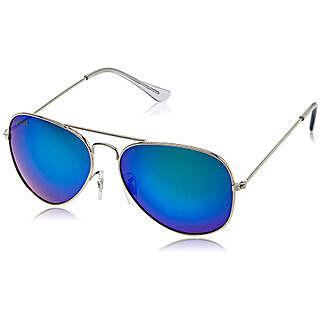 MTV Roadies Silver Blue Mirrored Unisex Aviator Sunglasses: Sunglasses for Men