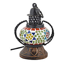 Multicolor Glass And Wooden Antique Lamp: Home Decor Gifts Ideas