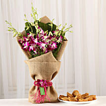 Orchids Bouquet & Gujia Combo: Holi Gifts