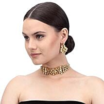 Party Wear Kundan Necklace Set Gold Color: Jewellery Gifts
