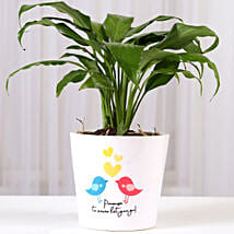 Peace Lily Plant With Promise Love Birds Mug: Plants to Hyderabad