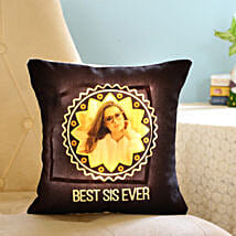 Personalised Best Sis Ever LED Cushion: Rakhi Return Gifts for Sister