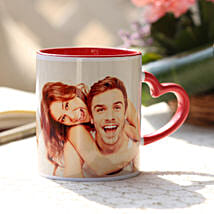 Personalised Red Heart Handle Mug: Customised Coffee Mug