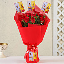 Personalised Red Roses Bouquet: