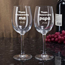 Personalised Set Of 2 Wine Glasses 2899: Anniversary Gifts for Parents