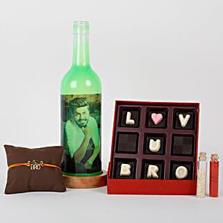 Personalized Bottle Lamp Rakhi Combo: Rakhi Gift Hampers