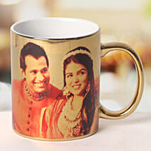 Personalized Ceramic Golden Mug: Send Gifts to Daman