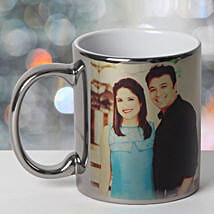Personalized Ceramic Silver Mug: Send Gifts to Varanasi