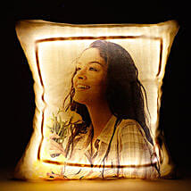 Personalized LED Cushion Yellow: Personalised Photo Frames - Rakhi