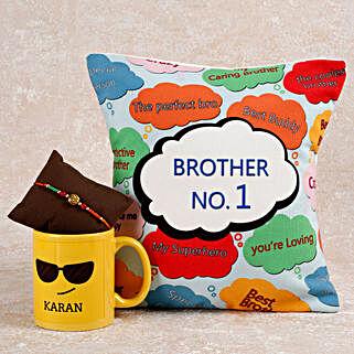 Personalized Rakhi Hamper For Brother: Rakhi With Cushions