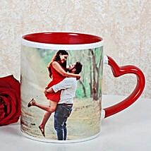 Personalized Red Ceramic Mug: Send Flowers to Alappuzha