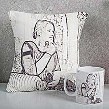 Personalized Sketch Cushion N Mug Combo: Cushions for Mother's Day