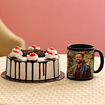 Picture Mug & Black Forest Cake Combo: Fathers Day Personalised Gifts