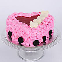Pink Floral Heart Cake: Eggless Cakes Ahmedabad