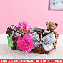 Pink Flowers & Hershey's Gift Basket: Send New Born Gift Baskets