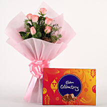 Pink Roses N Chocolates: Anniversary Chocolates