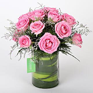 Pink Roses Vase Arrangement: Roses Delivery