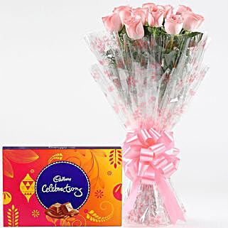 Pink Roses With Cadbury Celebrations: