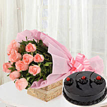 Pink Roses with Cake: Send Flowers to Guntur