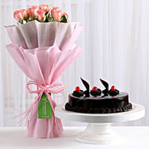 Pink Roses with Cake: Send Valentine Flowers to Gurgaon
