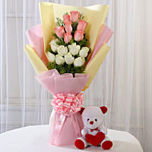 Pink & White Roses with Teddy Bear Combo: Teddy Day Gifts