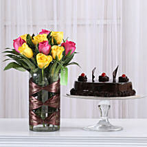 Pink & Yellow Roses Vase with Truffle Cake: Flower Bouquet with Cake