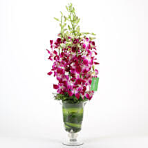 Purple Orchids Vase Arrangement: Miss You Flowers