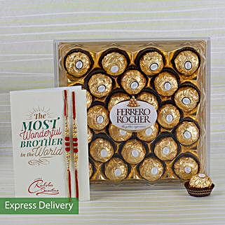 Rakhi Ferrero Rocher Combo: Rakhi Flowers with Chocolates