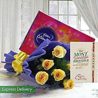 Rakhi With Roses And Chocolates: Rakhi with Flowers