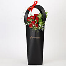 Ravishing Red Roses in Black Sleeve: Best Gifts to India