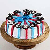Red & Blue Clock Cake: New Year Cake