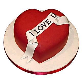 Red Heart love you Valentine cake: Designer Cakes Gurgaon