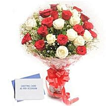 Red N White Roses: Buy Greeting Cards