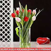 Red & Pink Tulips in Glass Vase: