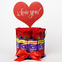 Red Roses & Dairy Milk Arrangement: Valentines Day Flowers & Chocolates