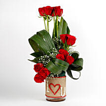 Red Roses Glass Vase Arrangement I Love You: Karwa Chauth Flowers