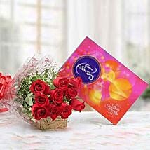 Red Roses With Cadbury Celebrations: Flowers to Farah