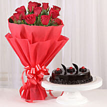Red Roses with Cake: Flowers & Cakes Ahmedabad