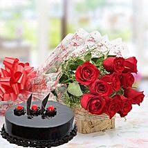 Red Roses With Truffle Cake: Birthday Gifts for Husband