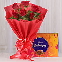 Red Roses & Cadbury Celebrations Combo: Valentines Day Gifts for Husband