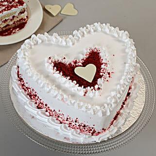 Red Velvet Cream Heart Cake: Red Velvet Cakes Ahmedabad