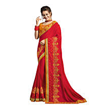 Red & Yellow Georgette Saree: Saree Gifts